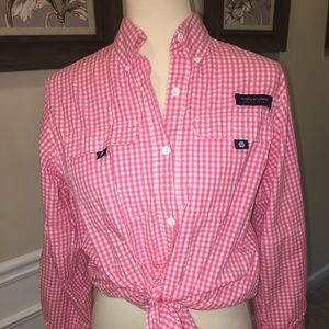 SIMPLY SOUTHERN PINK/WHT BUTTON DOWN SZ MED